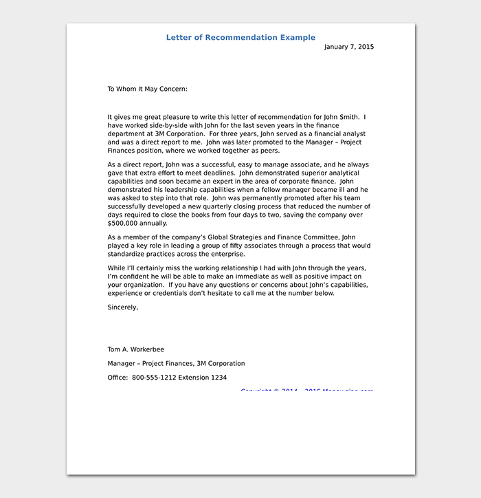 Letter Of Recommendation Example