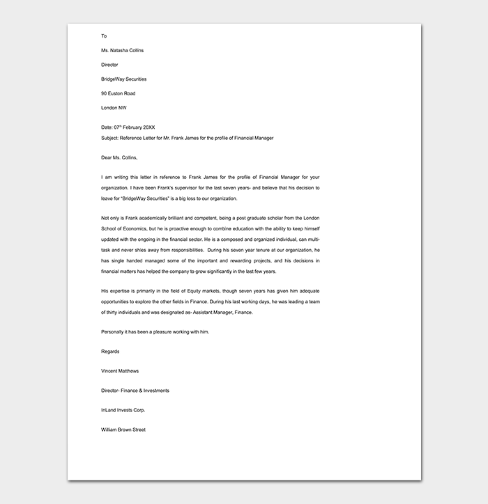 Manager Financial Reference Letter