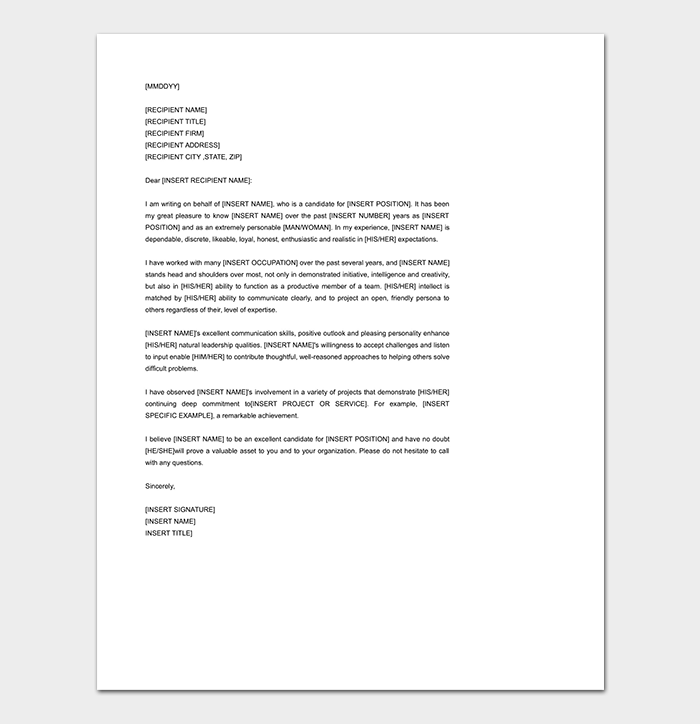 Recommendation Letter Sample Reference and Template