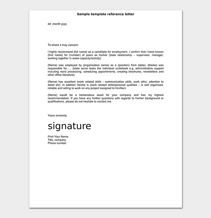 Reference Letter Template Guide