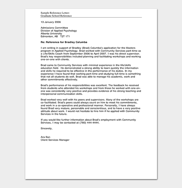 Reference Letter Template PDF