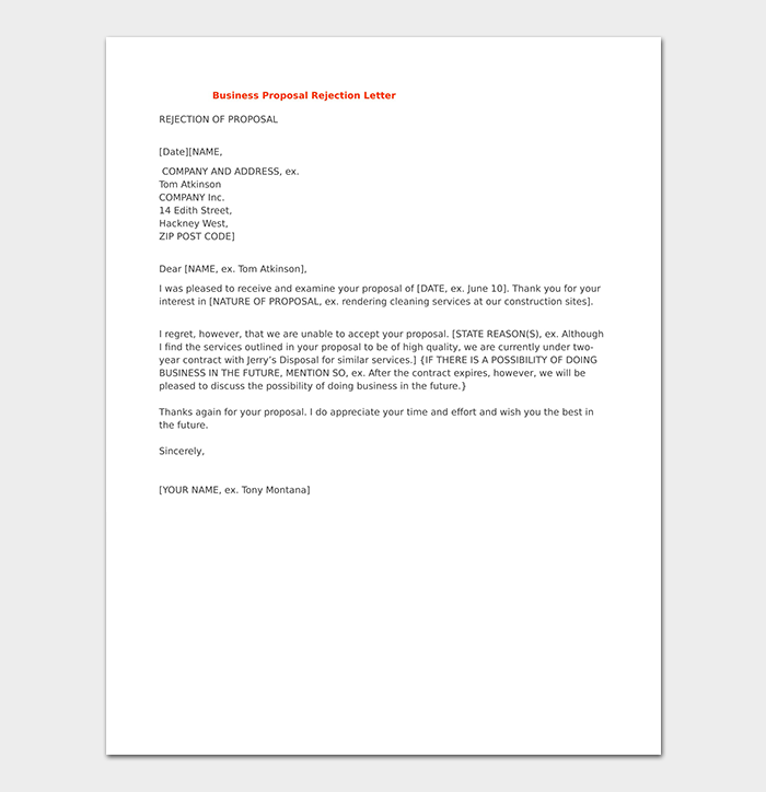 Rejection Letter for Business Proposal