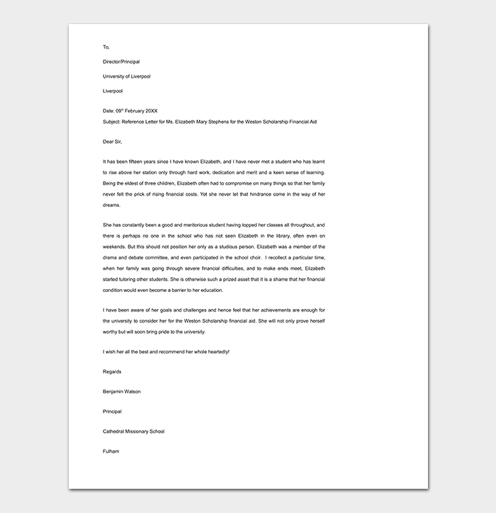 Sample Finance Reference Letter