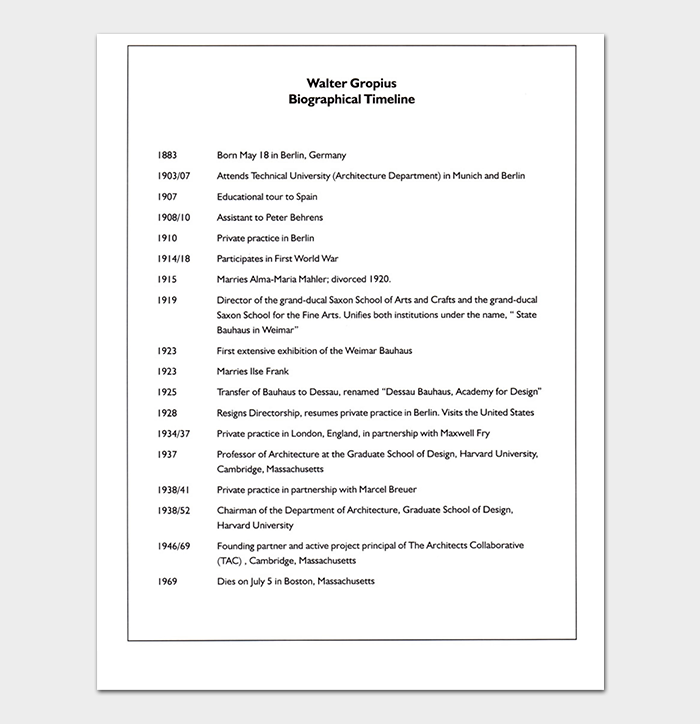 Biography Timeline Template PDF