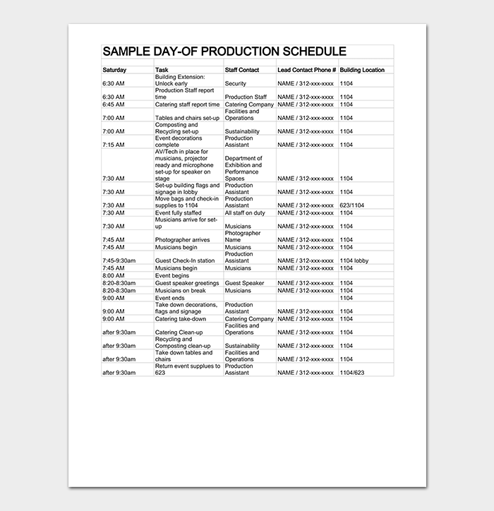Event Production Timeline