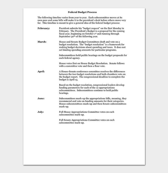Federal Budget Process Timeline