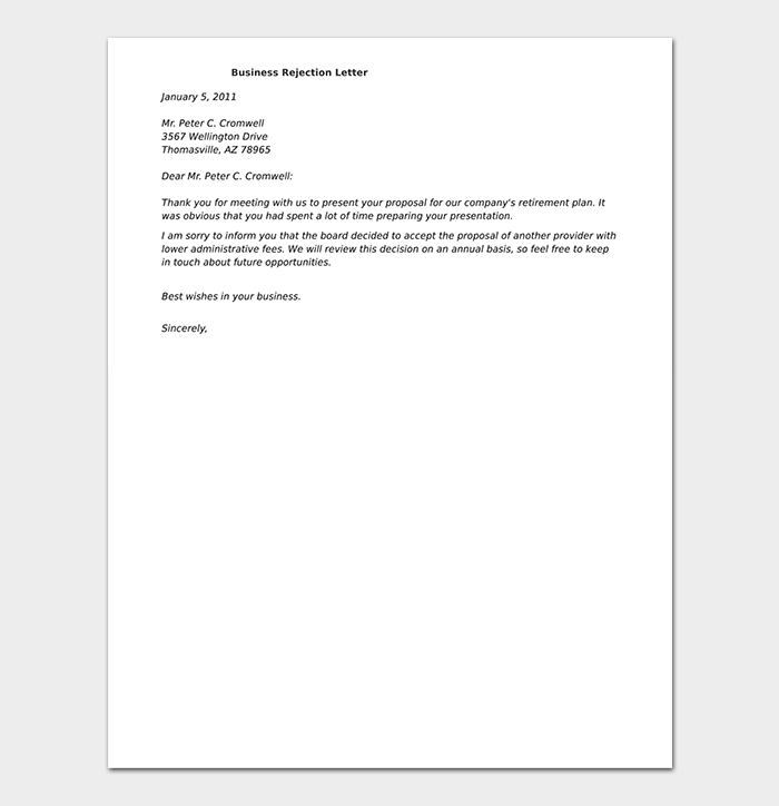 Formal Business Rejection Letter