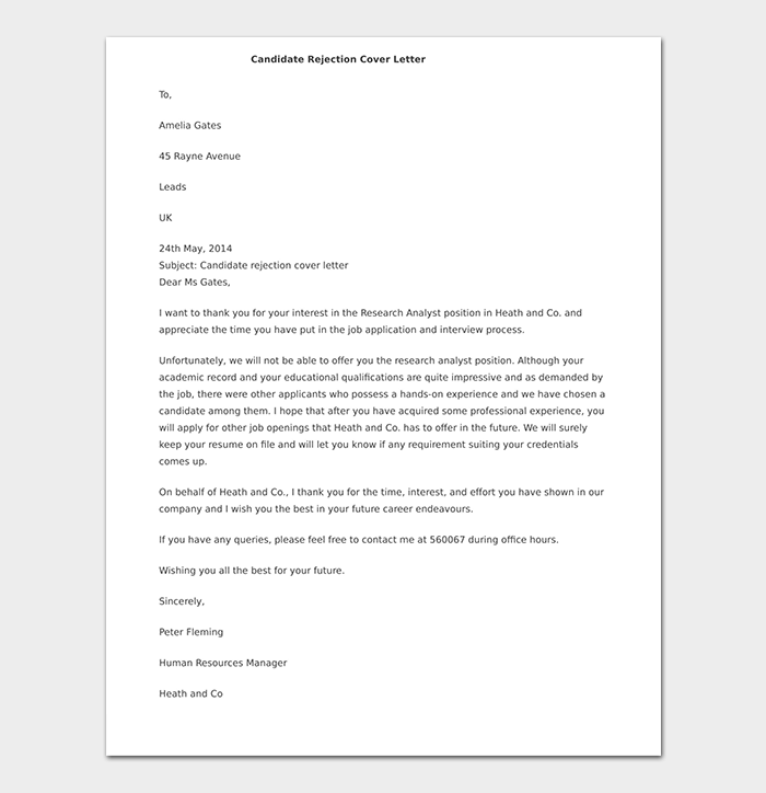 Formal Candidate Rejection Letter