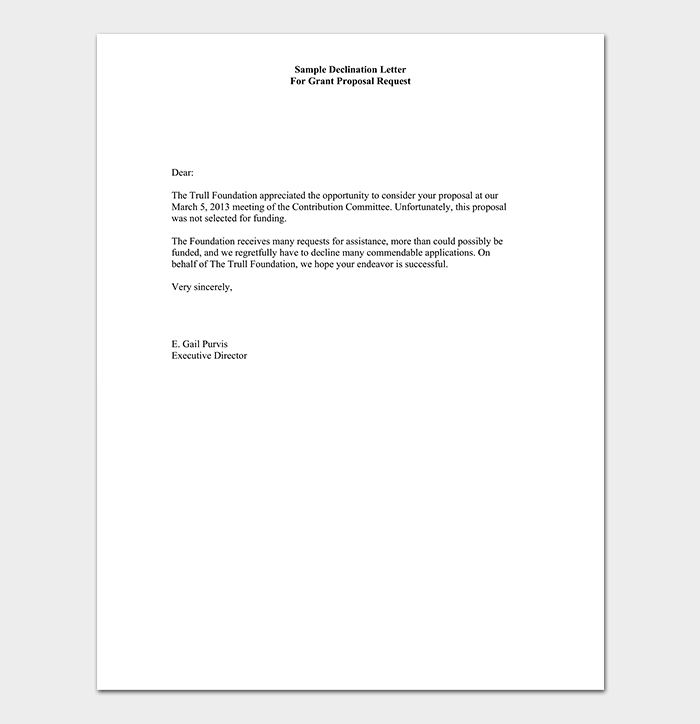Grant Proposal Rejection Letter