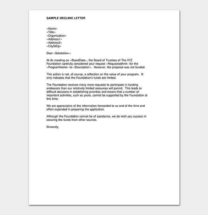 Grant Request Rejection Letter