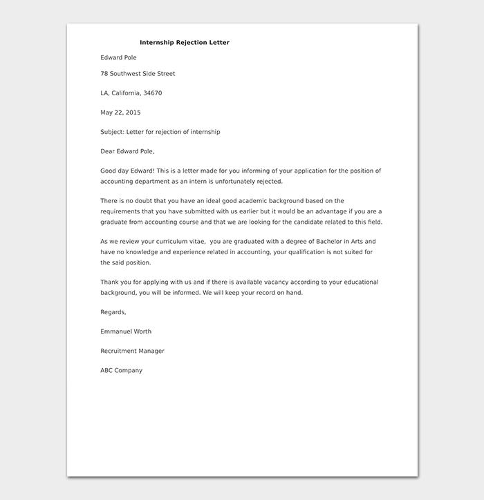 Internship Rejection Letter