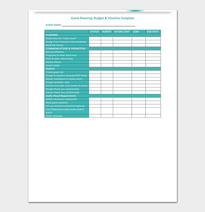 Printable Budget Timeline Template
