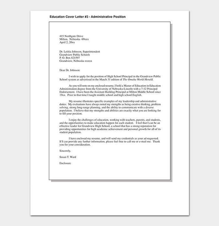 Administration Cover Letter