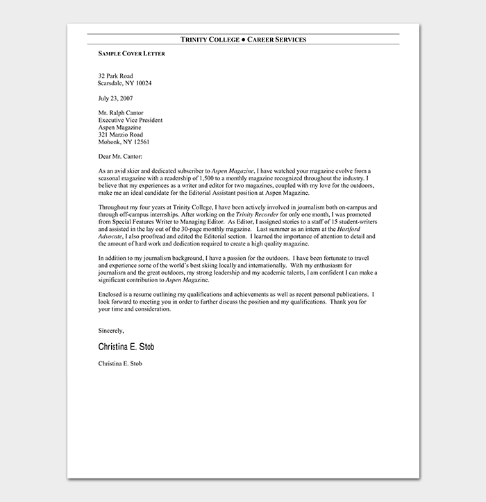 Magazine Editorial Assistant Cover Letter