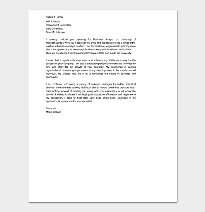 Professional Cover Letter for Undergraduate